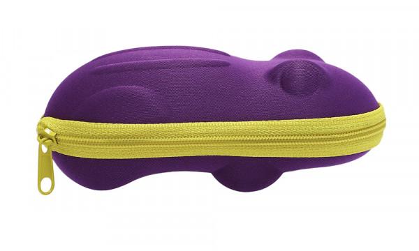 Kinderbrillenetui mit Reissverschluss - Frosch - lila
