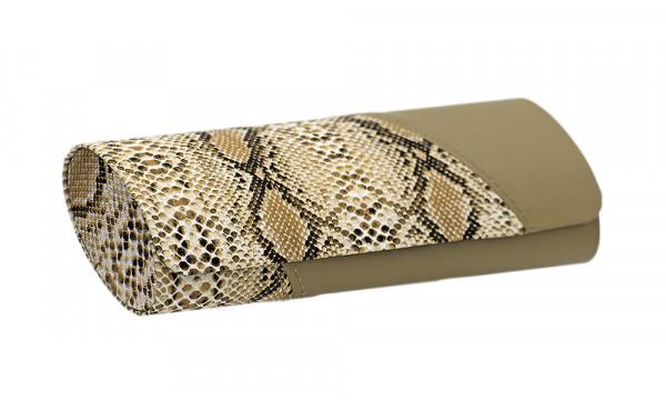 Lederetui mit Magnetverschluss - hellbraun - Schlangenoptik