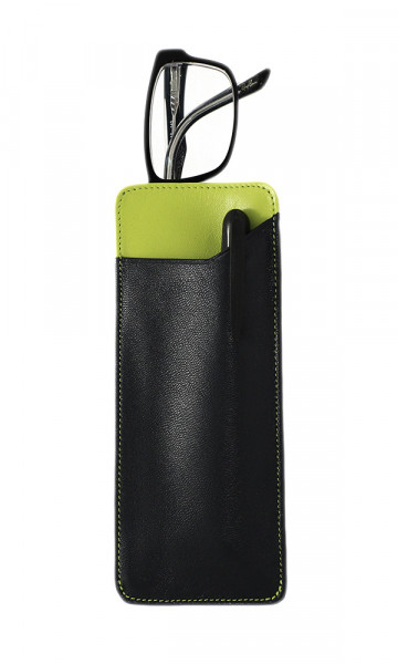 weiches Lederstecketui - dunkelbraun/grün - mit praktischem Einschubfach