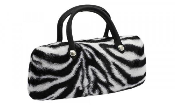 Klappetui mit Kunstfellbezug und Henkeln - Zebra