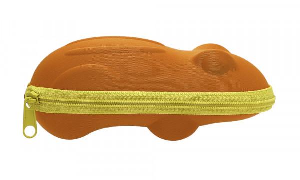 Kinderbrillenetui mit Reissverschluss - Frosch - orange