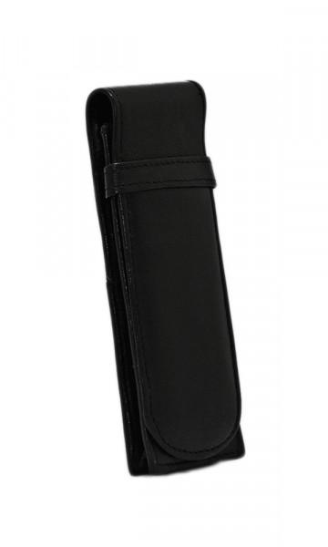 sehr kleines, weiches Lederstecketui - schwarz - mit praktischem Einschubfach