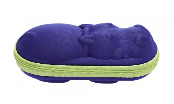 Kinderbrillenetui mit Reissverschluss - Nilpferd - blau