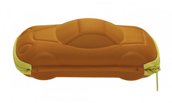 Kinderbrillenetui mit Reissverschluss - Auto - orange