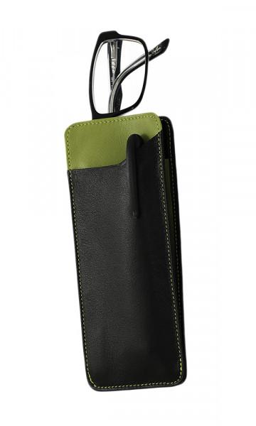 weiches Lederstecketui -schwarz/grün - mit praktischem Einschubfach