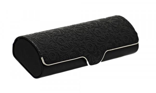 verziertes Klappetui mit Magnetverschluss - schwarz