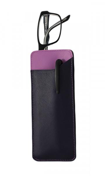 weiches Lederstecketui - lila/pink - mit praktischem Einschubfach