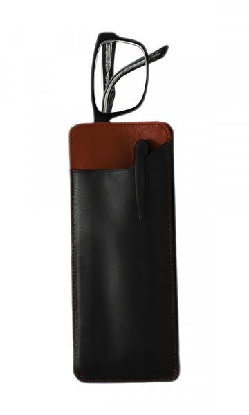 weiches Lederstecketui - schwarz/rot - mit praktischem Einschubfach