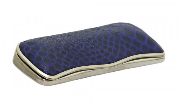 Reinhold Kühn Etui - blau - Metallhartschale mit Lederüberzug