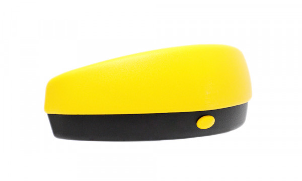 Brillenetui für Sportbrillen und gebogene Sonnenbrillen mit Druckknopf schwarz/gelb