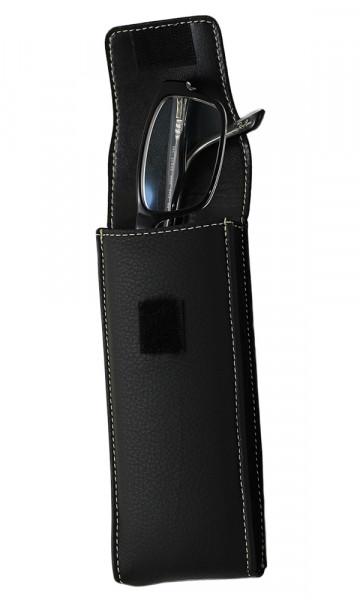 hartes Lederstecketui - schwarz - Klettverschluss