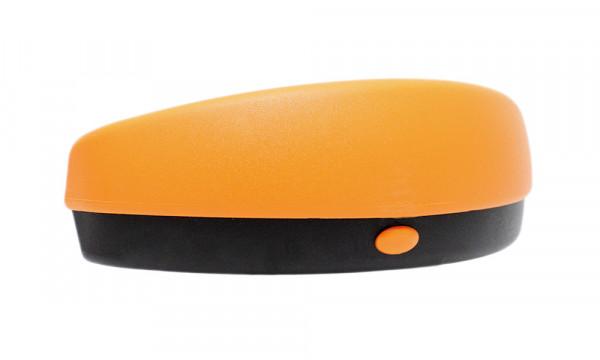 Brillenetui für Sportbrillen und gebogene Sonnenbrillen mit Druckknopf schwarz/orange