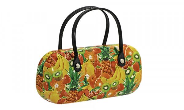 Klappetui mit Kunstlederüberzug und Henkeln - Früchte