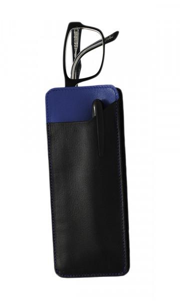 weiches Lederstecketui - schwarz/blau - mit praktischem Einschubfach
