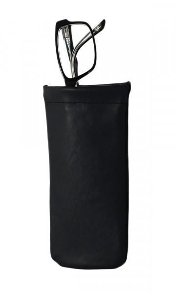 weiches Lederstecketui - schwarz - Schnappverschluss